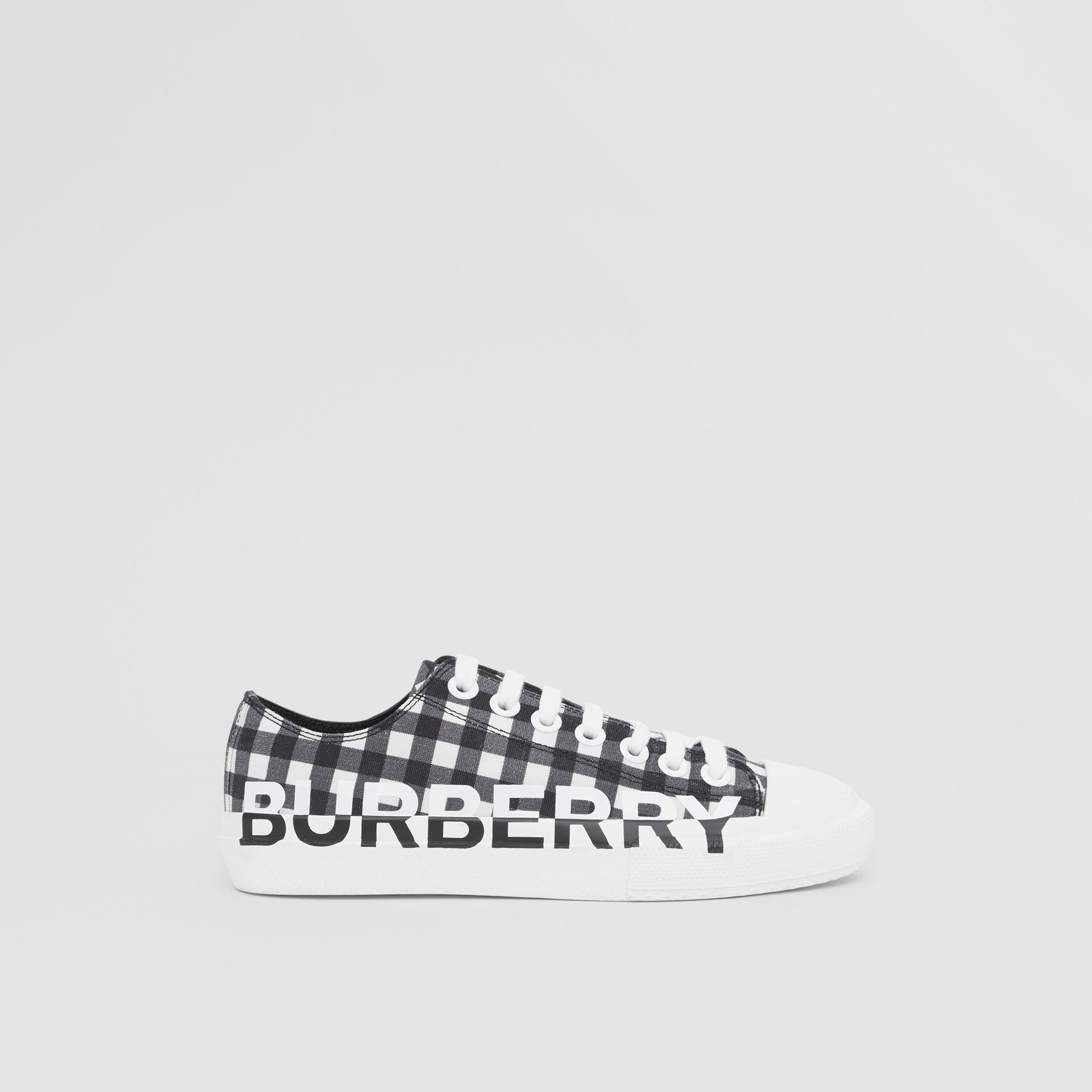 Logo Print Gingham Cotton Sneakers in Black/white - Women | Burberry - gallery image 4