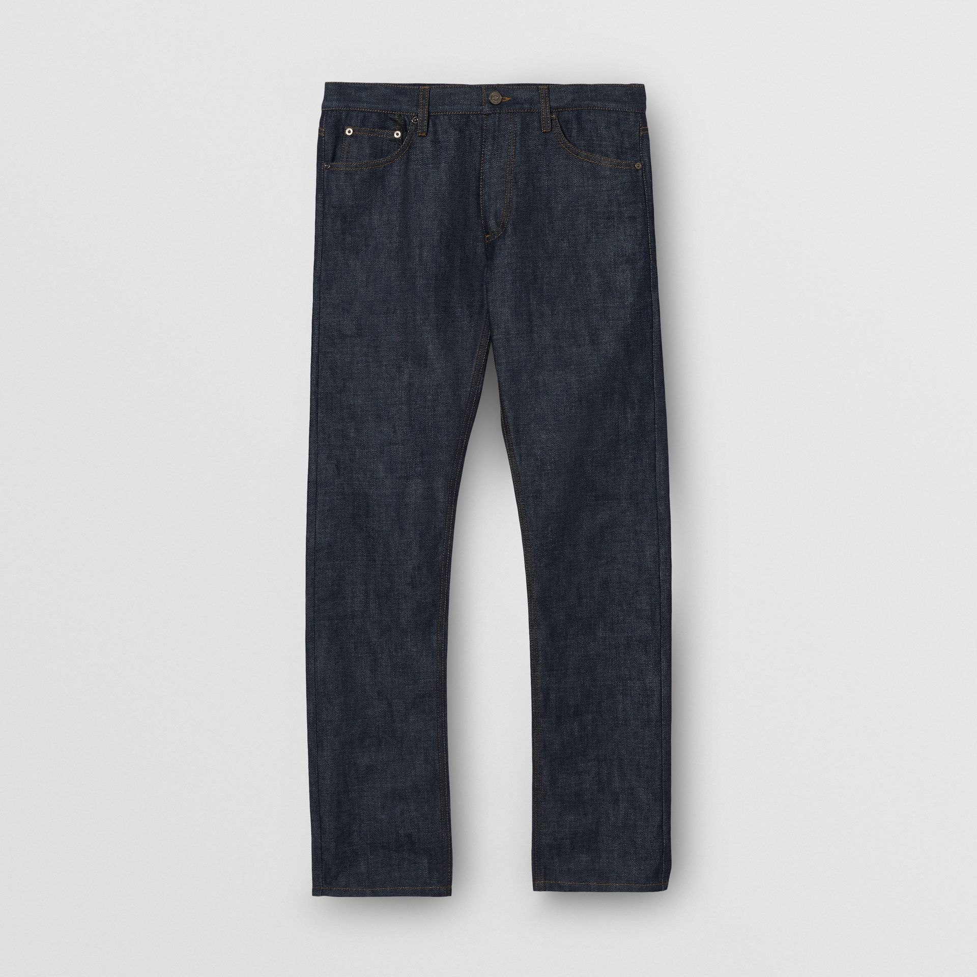 Straight Fit Japanese Selvedge Denim Jeans in Mid Indigo Blue - Men | Burberry United Kingdom - gallery image 3