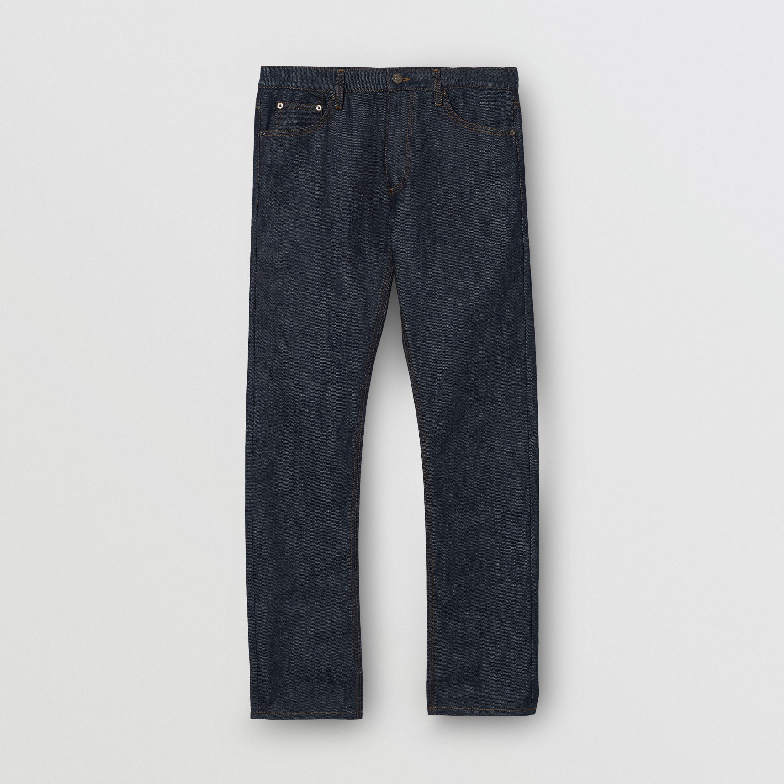 Straight Fit Japanese Selvedge Denim Jeans in Mid Indigo Blue | Burberry - 4