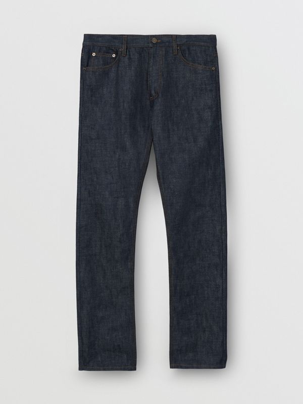Straight Fit Japanese Selvedge Denim Jeans in Mid Indigo Blue - Men | Burberry Hong Kong S.A.R - cell image 3