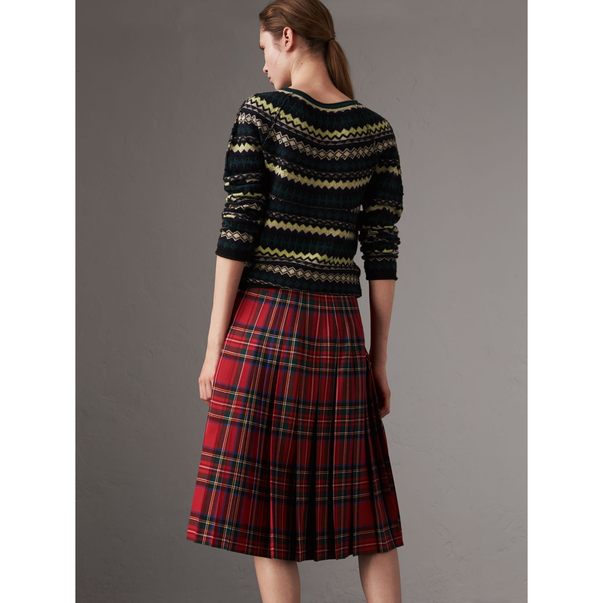Fair Isle Wool Sweater in Olive Green - Women | Burberry Singapore - gallery image 2
