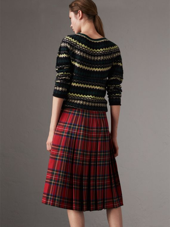 Fair Isle Wool Sweater in Olive Green - Women | Burberry Singapore - cell image 2