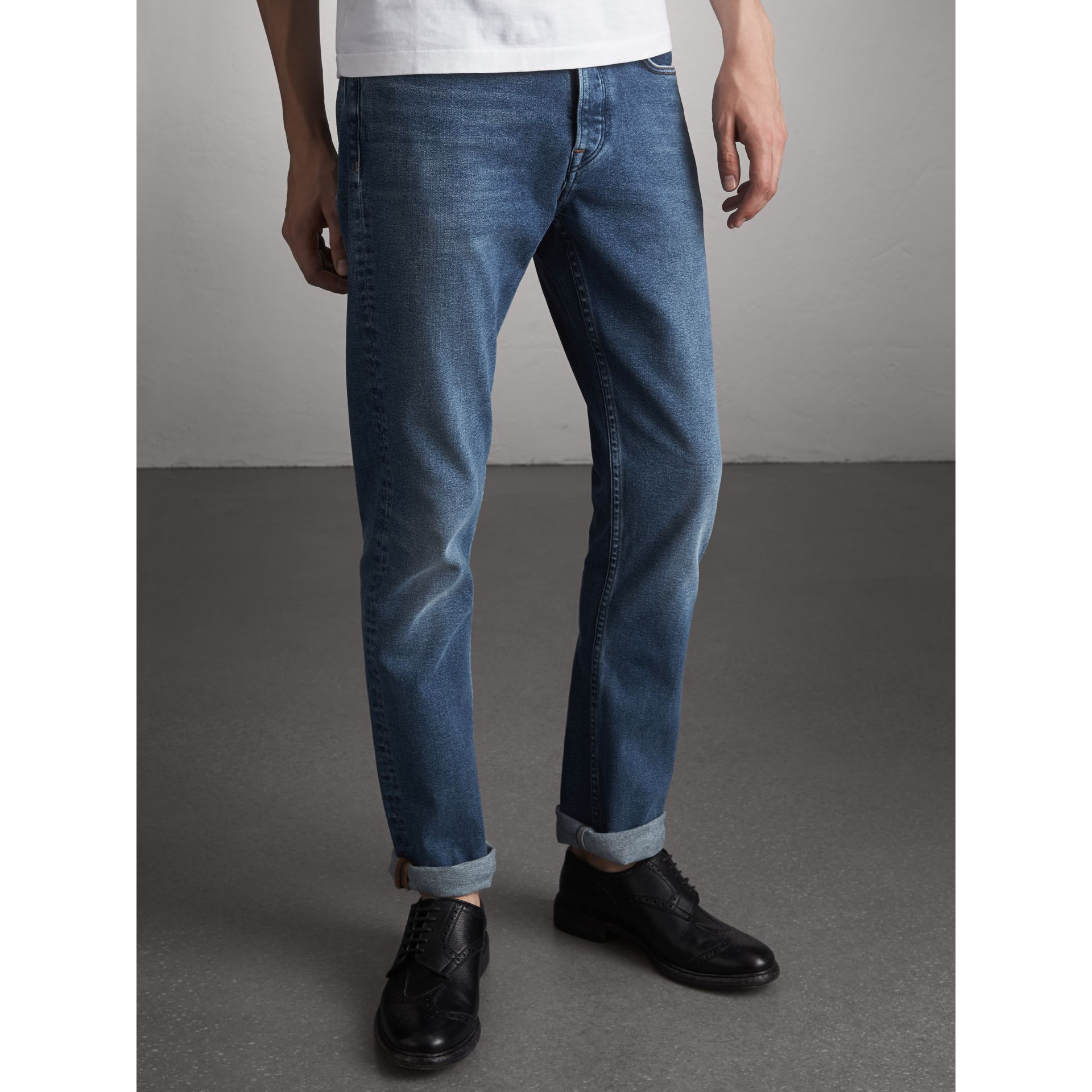 Straight Fit Stretch Japanese Denim Jeans in Mid Indigo - Men | Burberry Singapore - gallery image 6