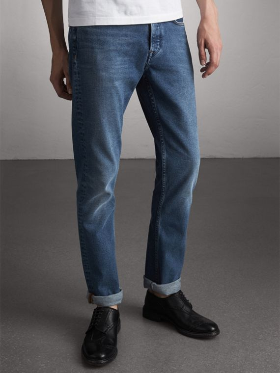 Straight Fit Stretch Japanese Denim Jeans in Mid Indigo