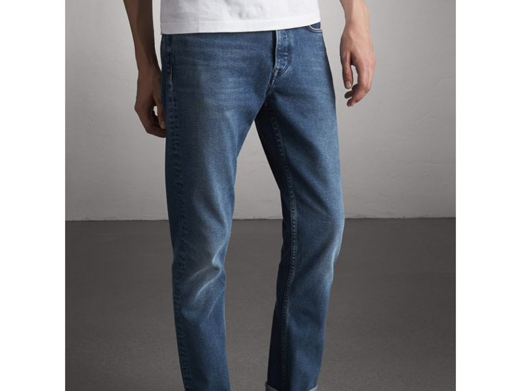 Straight Fit Stretch Japanese Denim Jeans - Men | Burberry - cell image 4