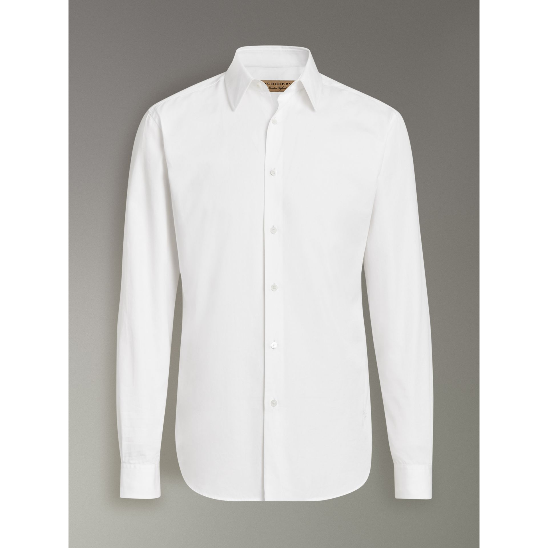Slim Fit Cotton Poplin Shirt in White - Men | Burberry United Kingdom - gallery image 3
