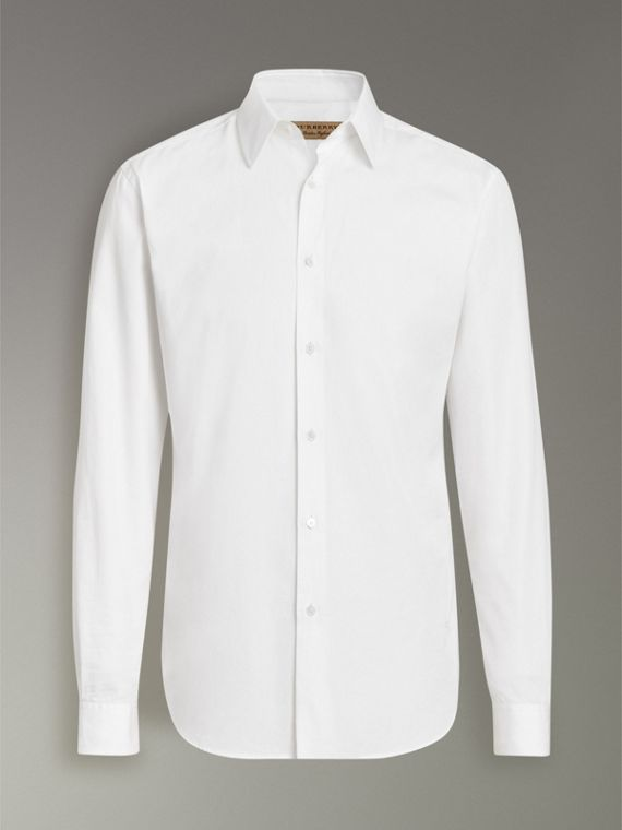 Slim Fit Cotton Poplin Shirt in White - Men | Burberry Hong Kong - cell image 3