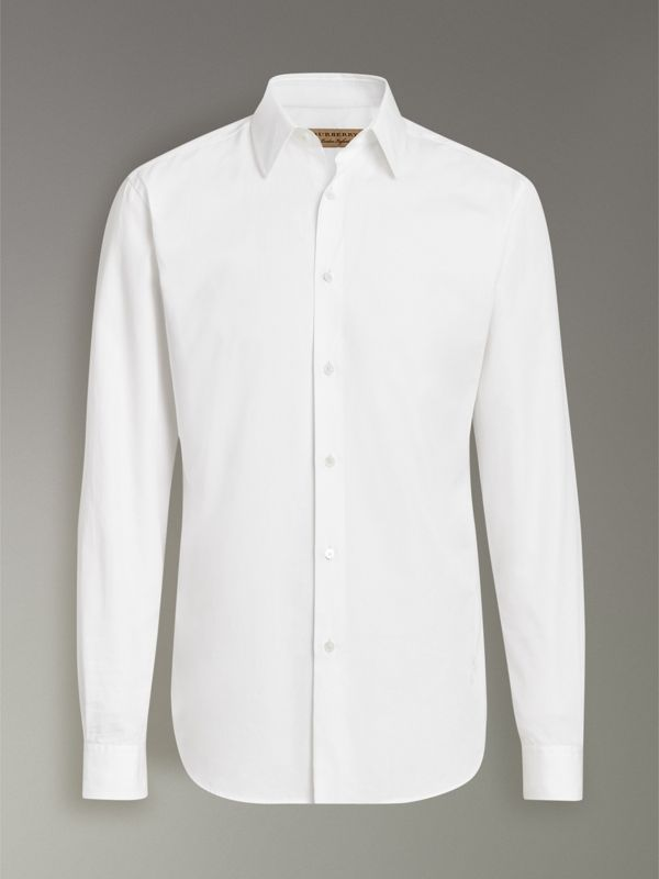 Slim Fit Cotton Poplin Shirt in White - Men | Burberry Australia - cell image 3