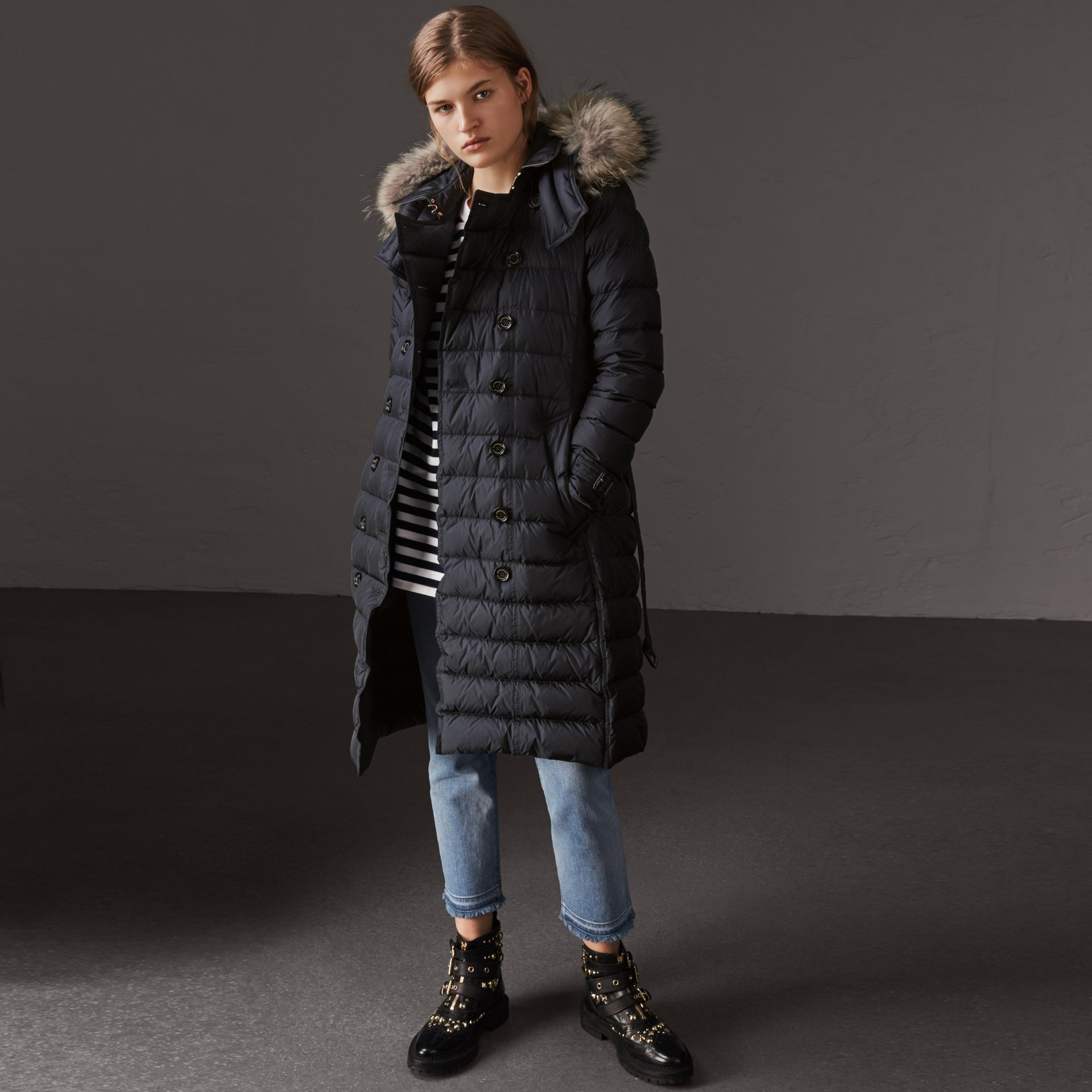 Detachable Hood Fur Trim Down-filled Puffer Coat in Navy - Women | Burberry - gallery image 0