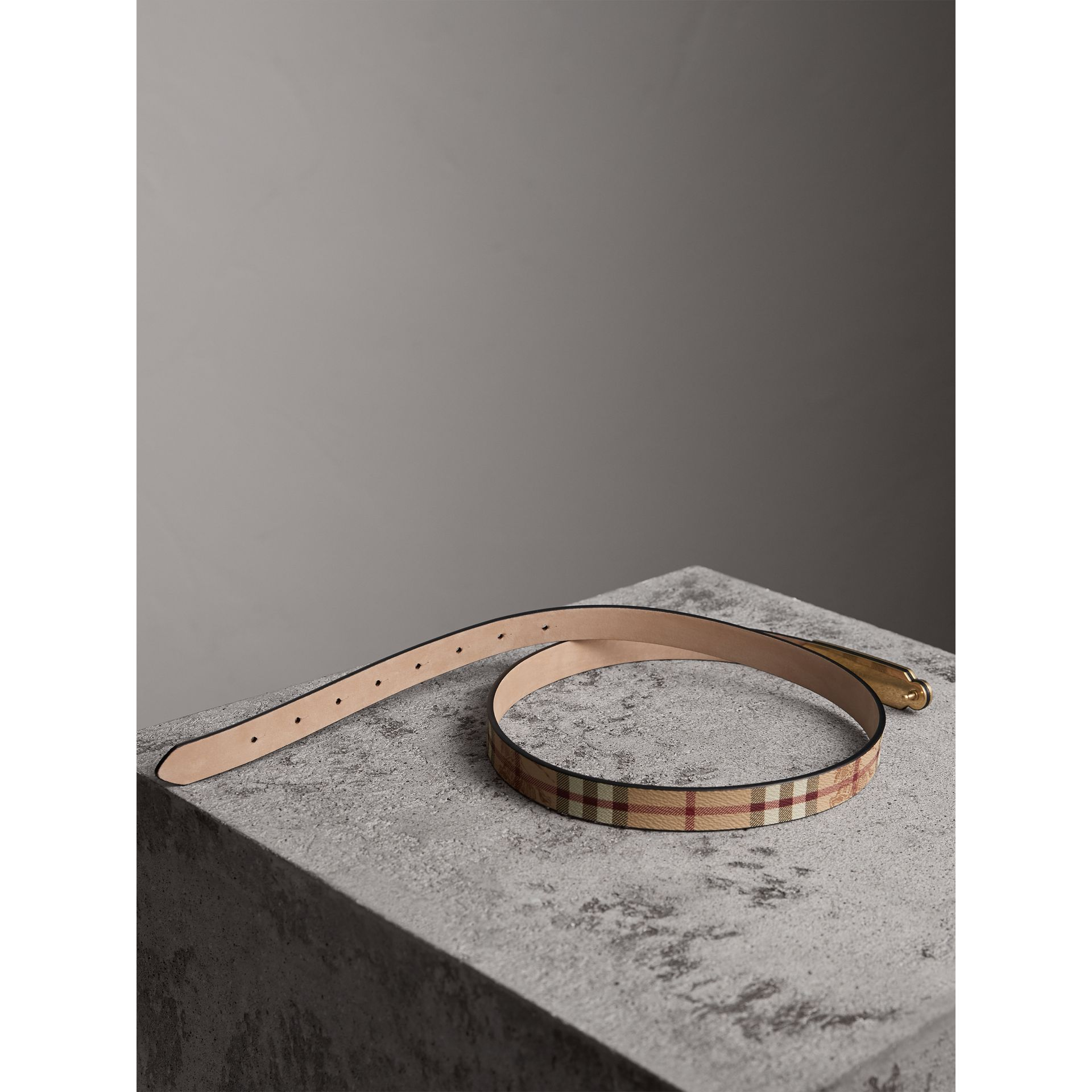 Plaque Buckle Haymarket Check and Leather Belt in Camel - Women | Burberry - gallery image 3