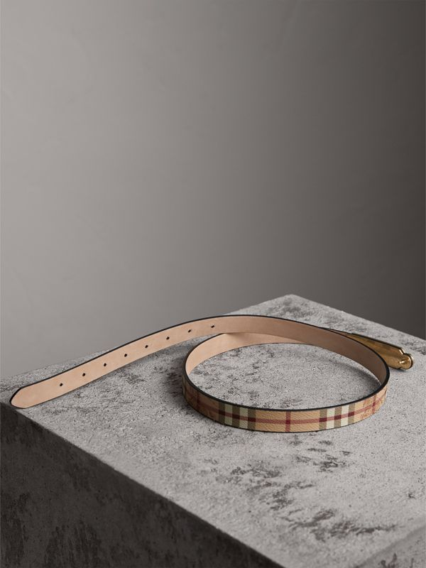Plaque Buckle Haymarket Check and Leather Belt in Camel - Women | Burberry United Kingdom - cell image 3