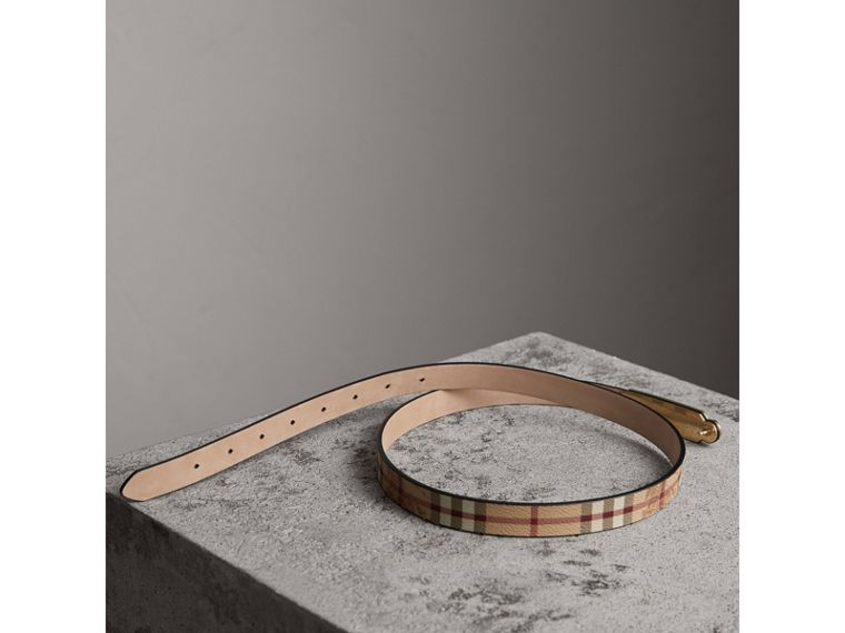 Plaque Buckle Haymarket Check and Leather Belt in Camel - Women | Burberry Hong Kong - cell image 2
