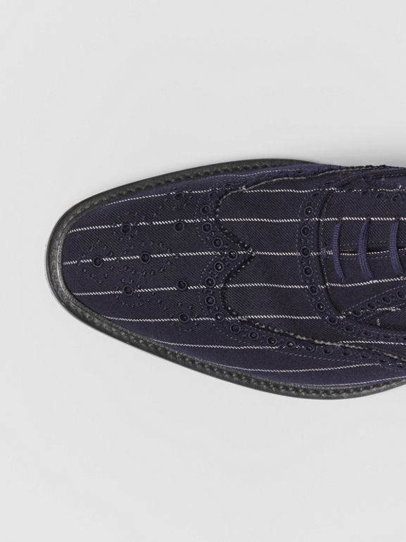 Pinstriped Wool Brogues in Dark Navy | Burberry - cell image 1