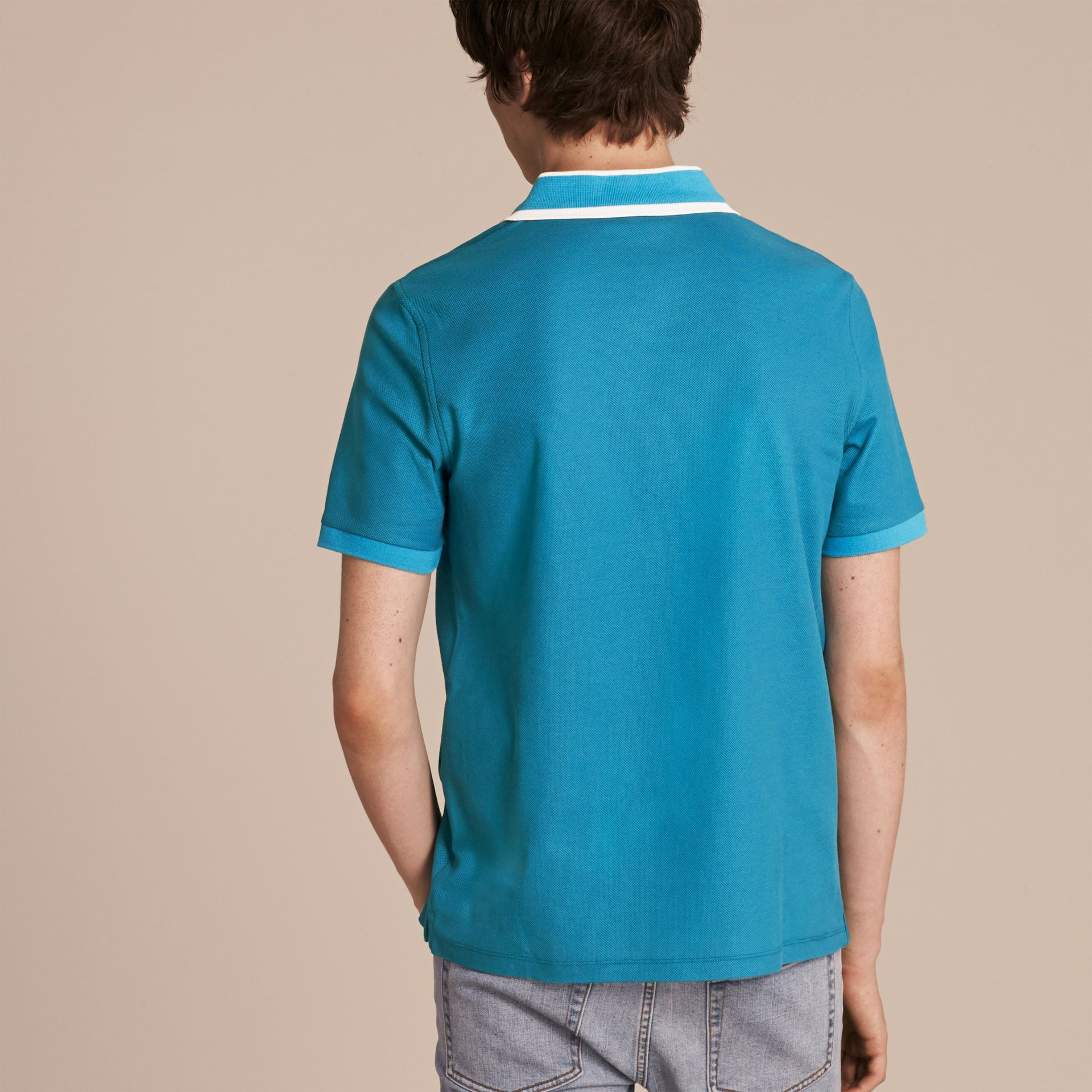 Striped Collar Cotton Piqué Polo Shirt Bright Turquoise - gallery image 3