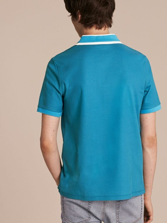 Striped Collar Cotton Piqué Polo Shirt Bright Turquoise - cell image 2