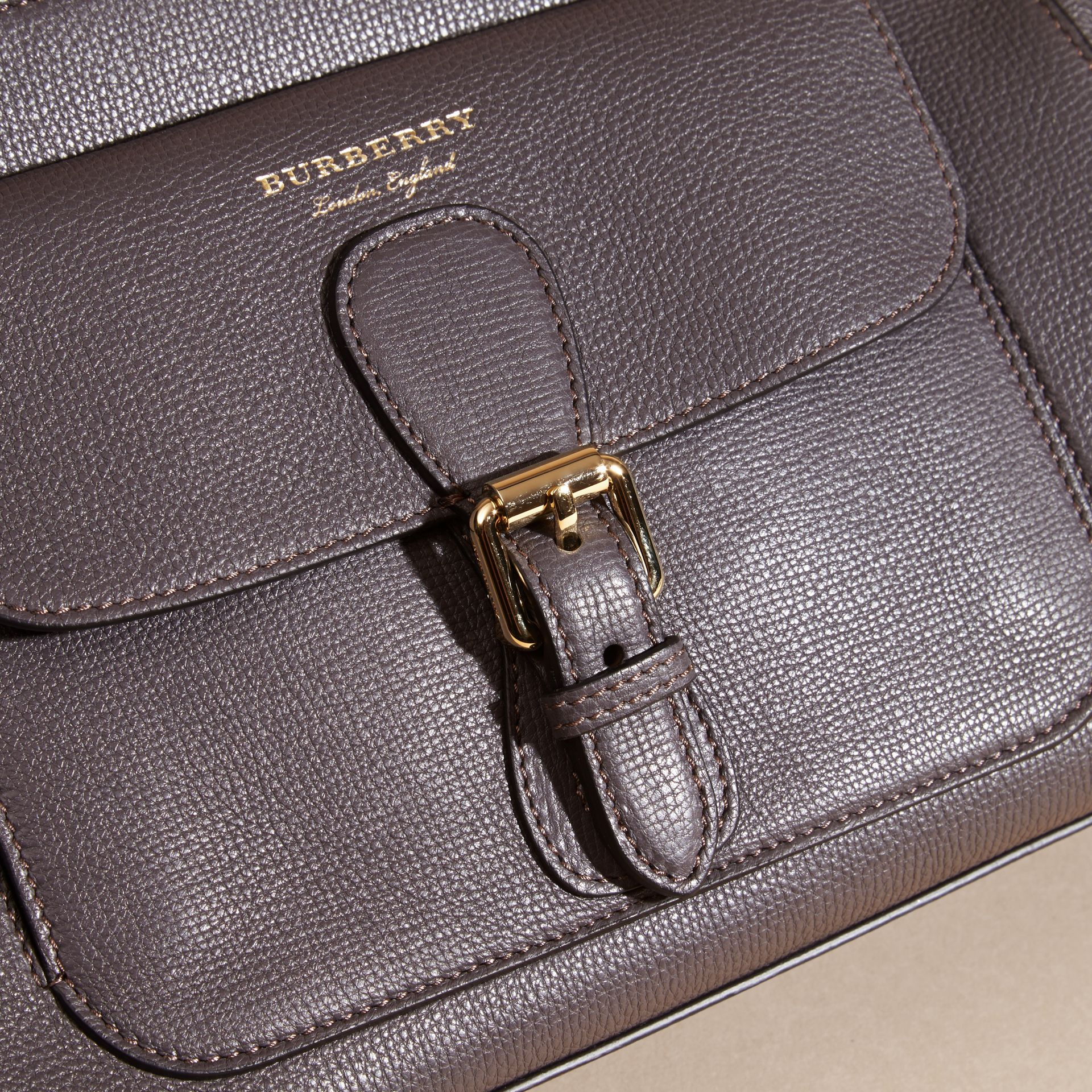 Sepia grey The Saddle Clutch in Grainy Bonded Leather Sepia Grey - gallery image 6