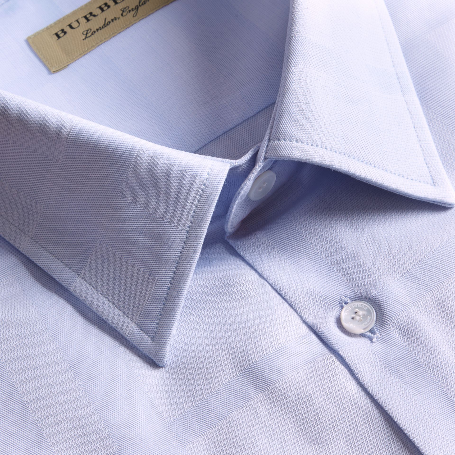 Modern Fit Check Cotton Poplin Shirt Pale Blue - gallery image 2