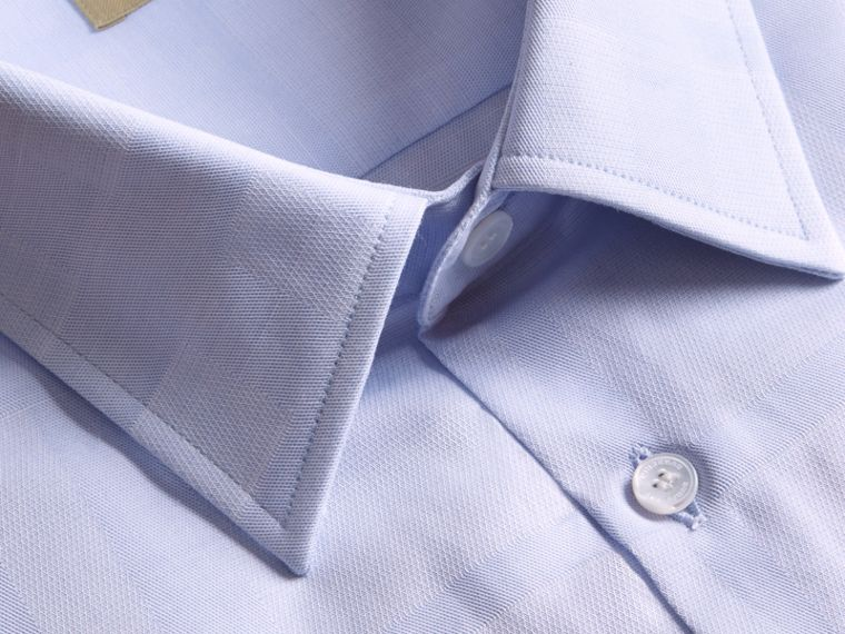 Modern Fit Check Cotton Poplin Shirt Pale Blue - cell image 1