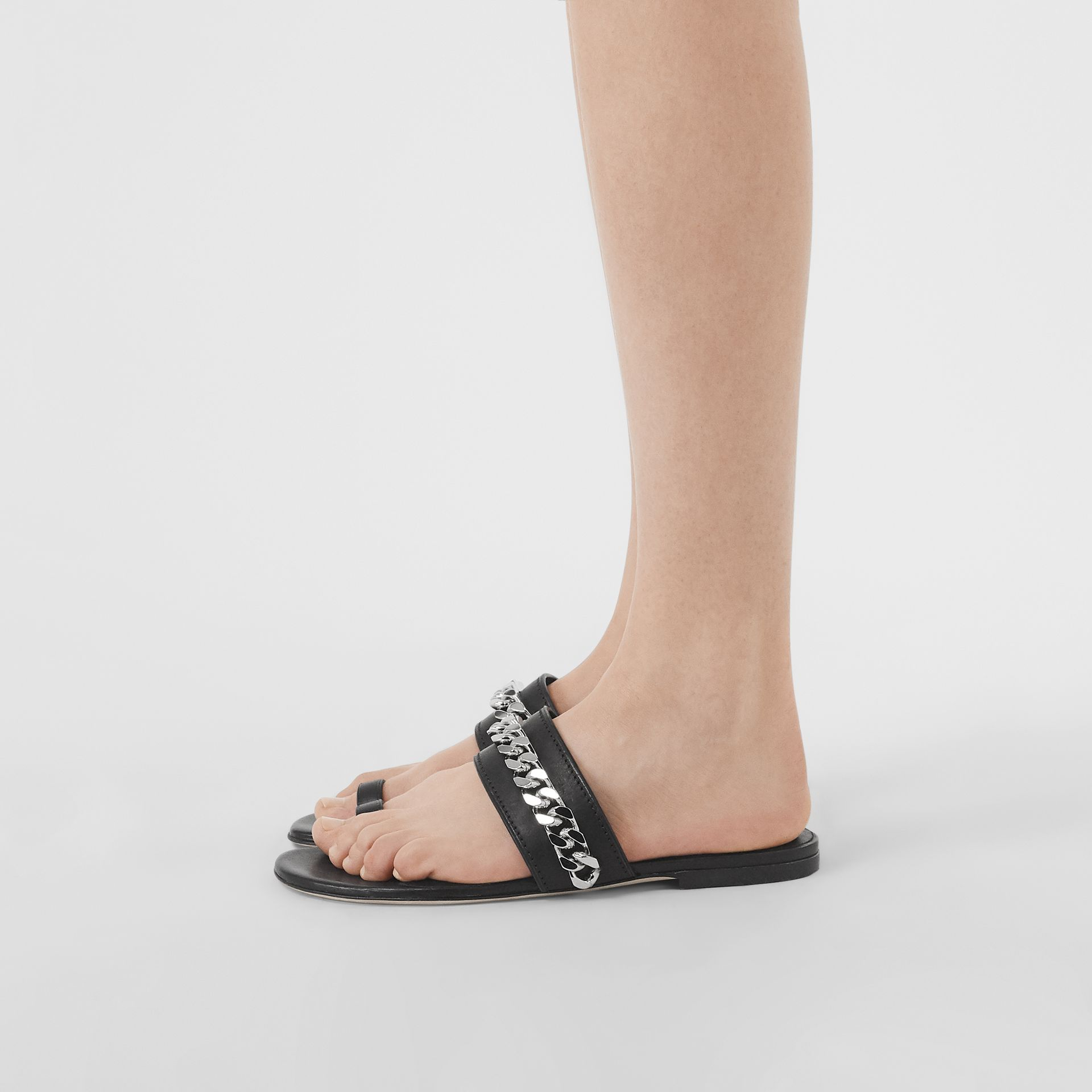 Chain Detail Leather Sandals in Black - Women | Burberry Singapore - gallery image 2