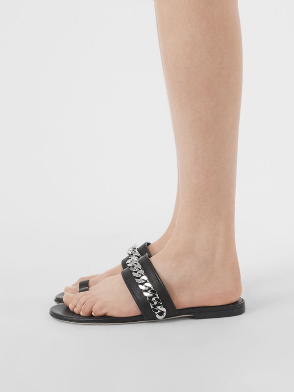 Chain Detail Leather Sandals in Black - Women | Burberry - cell image 2