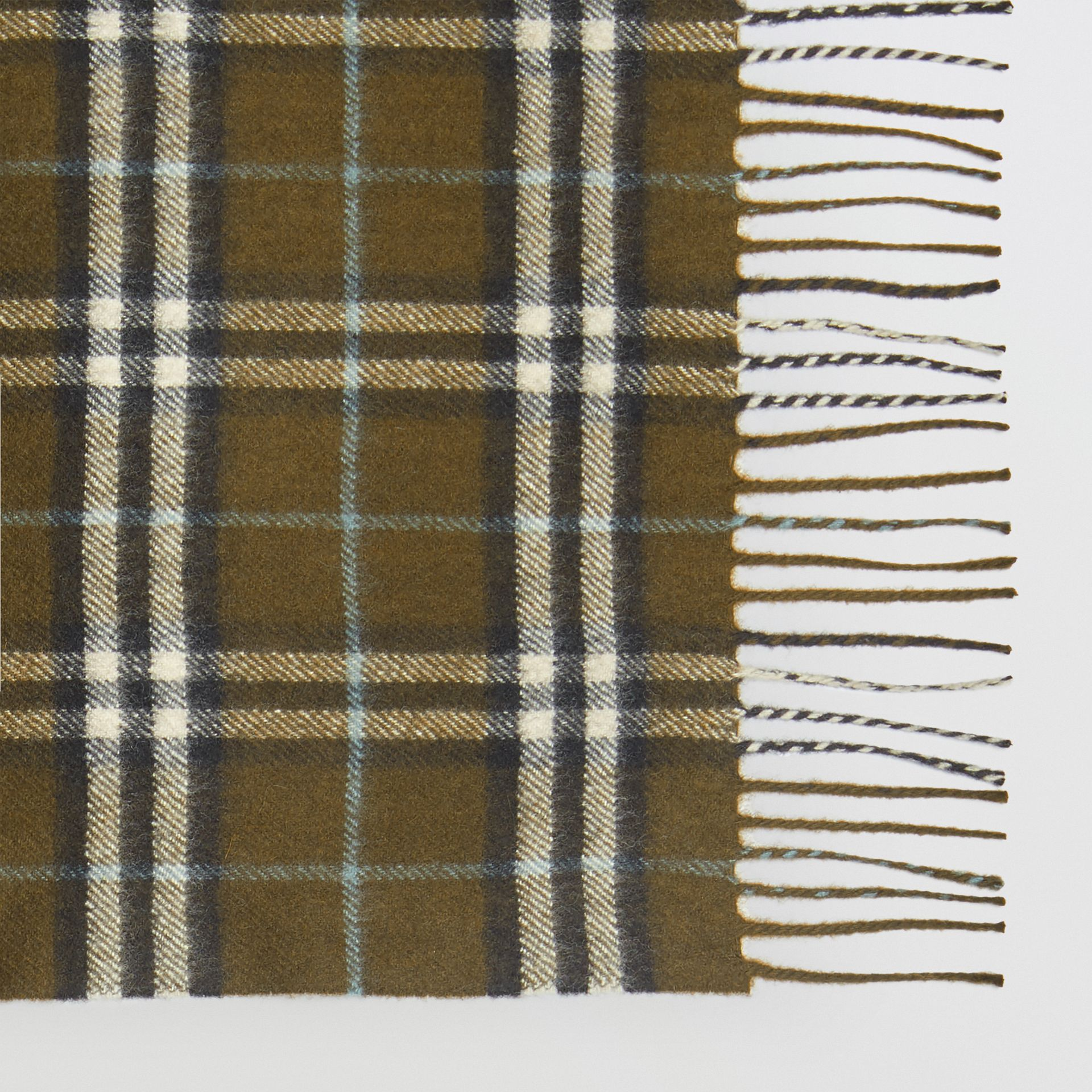 The Classic Vintage Check Cashmere Scarf in Military Brown | Burberry Australia - gallery image 1