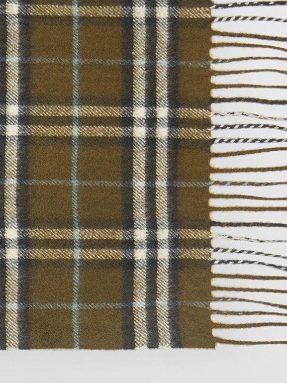 The Classic Vintage Check Cashmere Scarf in Military Brown | Burberry Australia - cell image 1