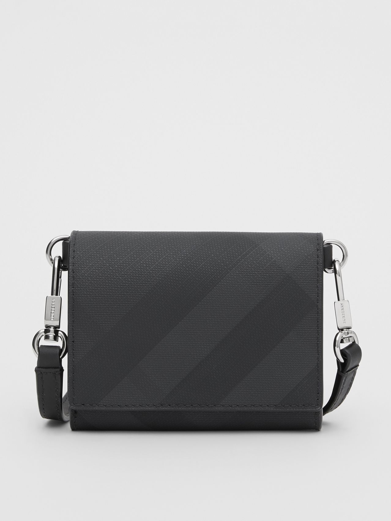Small London Check Wallet with Detachable Strap in Dark Charcoal