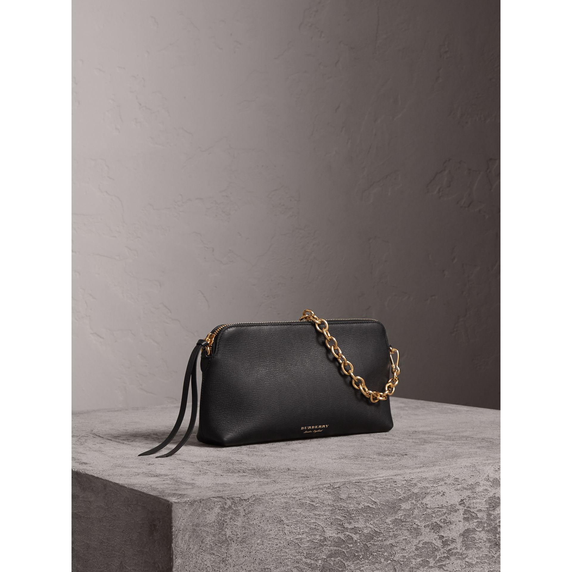 Grainy Leather Clutch Bag in Black - Women | Burberry - gallery image 7