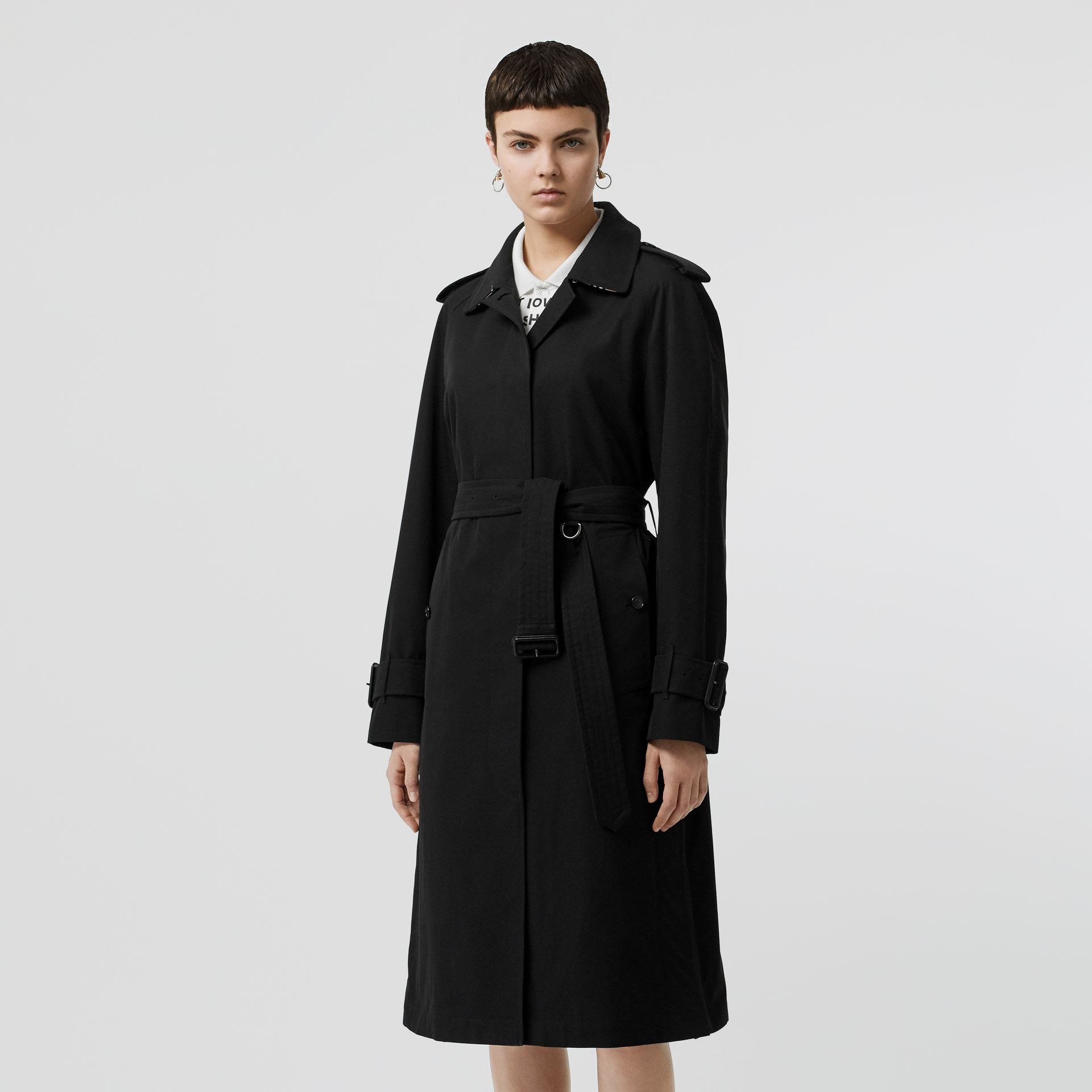 Tropical Gabardine Belted Car Coat in Black - Women | Burberry United States - gallery image 7