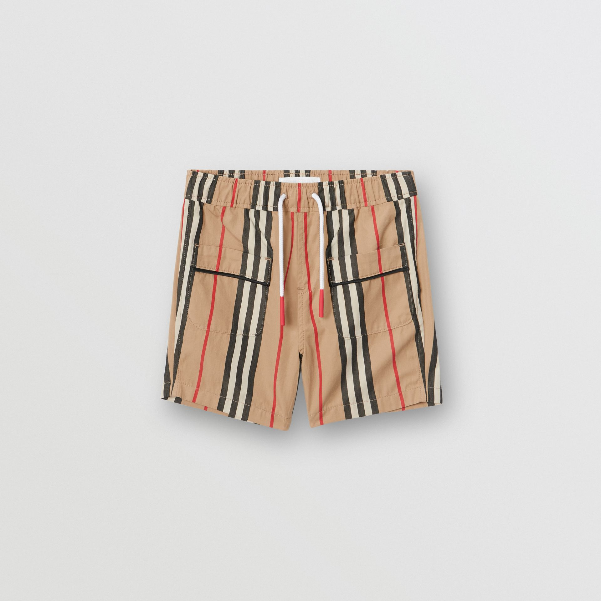 Icon Stripe Cotton Poplin Shorts in Archive Beige - Children | Burberry - gallery image 0