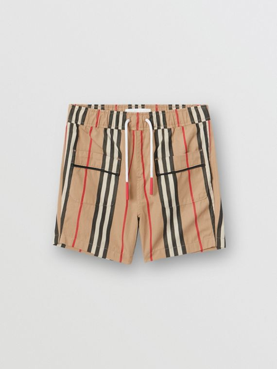 Icon Stripe Cotton Poplin Shorts in Archive Beige
