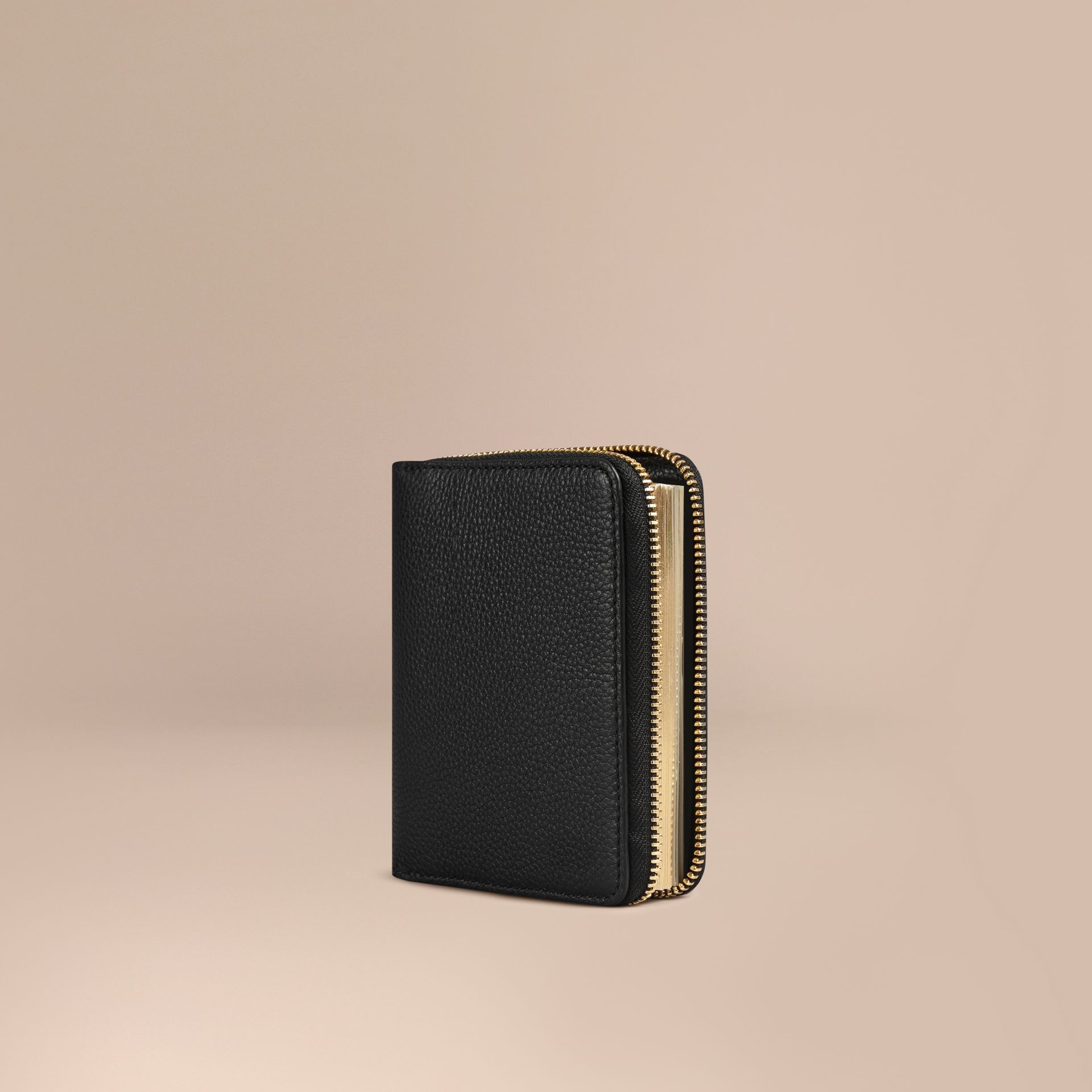 Ziparound Grainy Leather Mini Notebook in Black | Burberry - gallery image 1