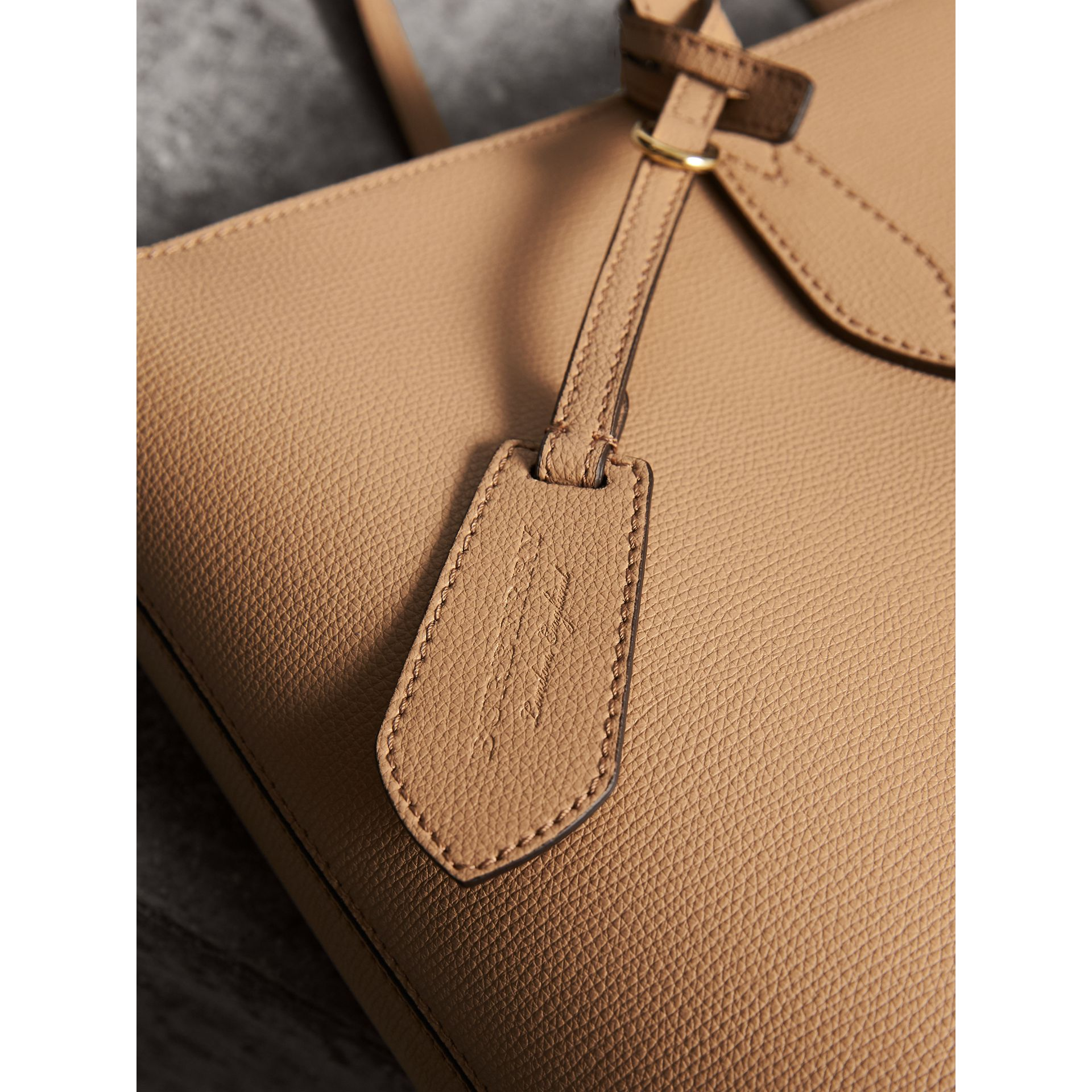 Medium Coated Leather Tote in Mid Camel - Women | Burberry - gallery image 2