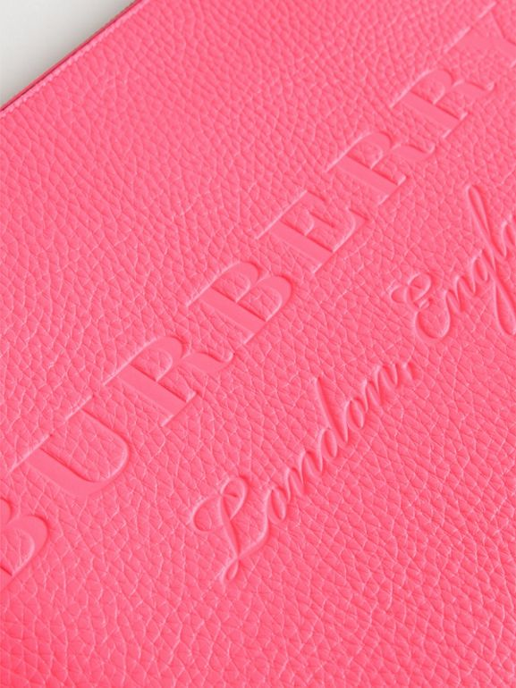 Embossed Leather Document Case in Neon Pink - Men | Burberry - cell image 1