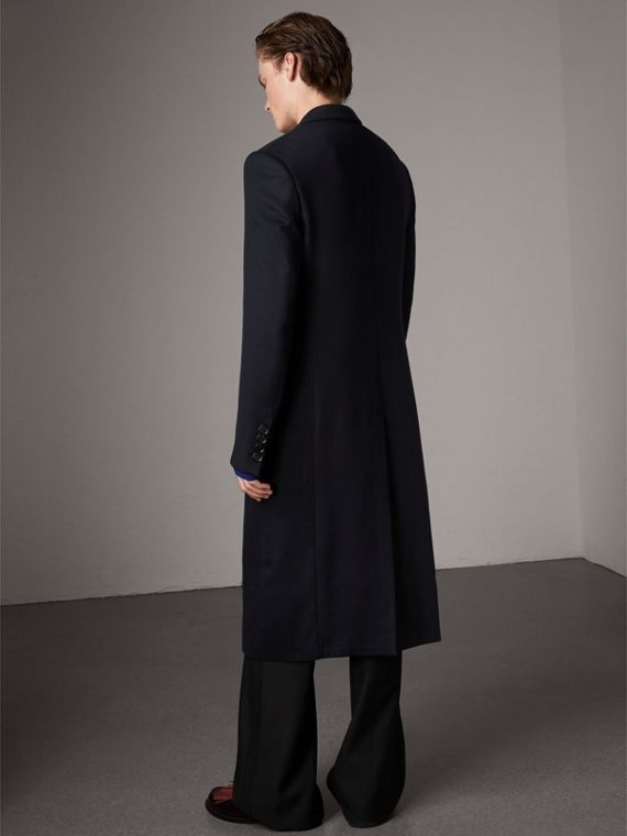 Tartan-lined Cashmere Twill Topcoat in Navy - Men | Burberry United Kingdom - cell image 2