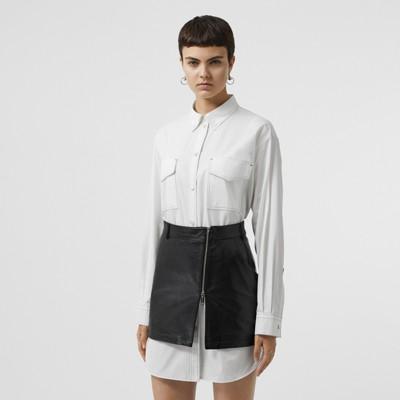 4161da8df76d6 algodón Vestido con pespuntes Blanco de popelina en camisero XAqHIxwX