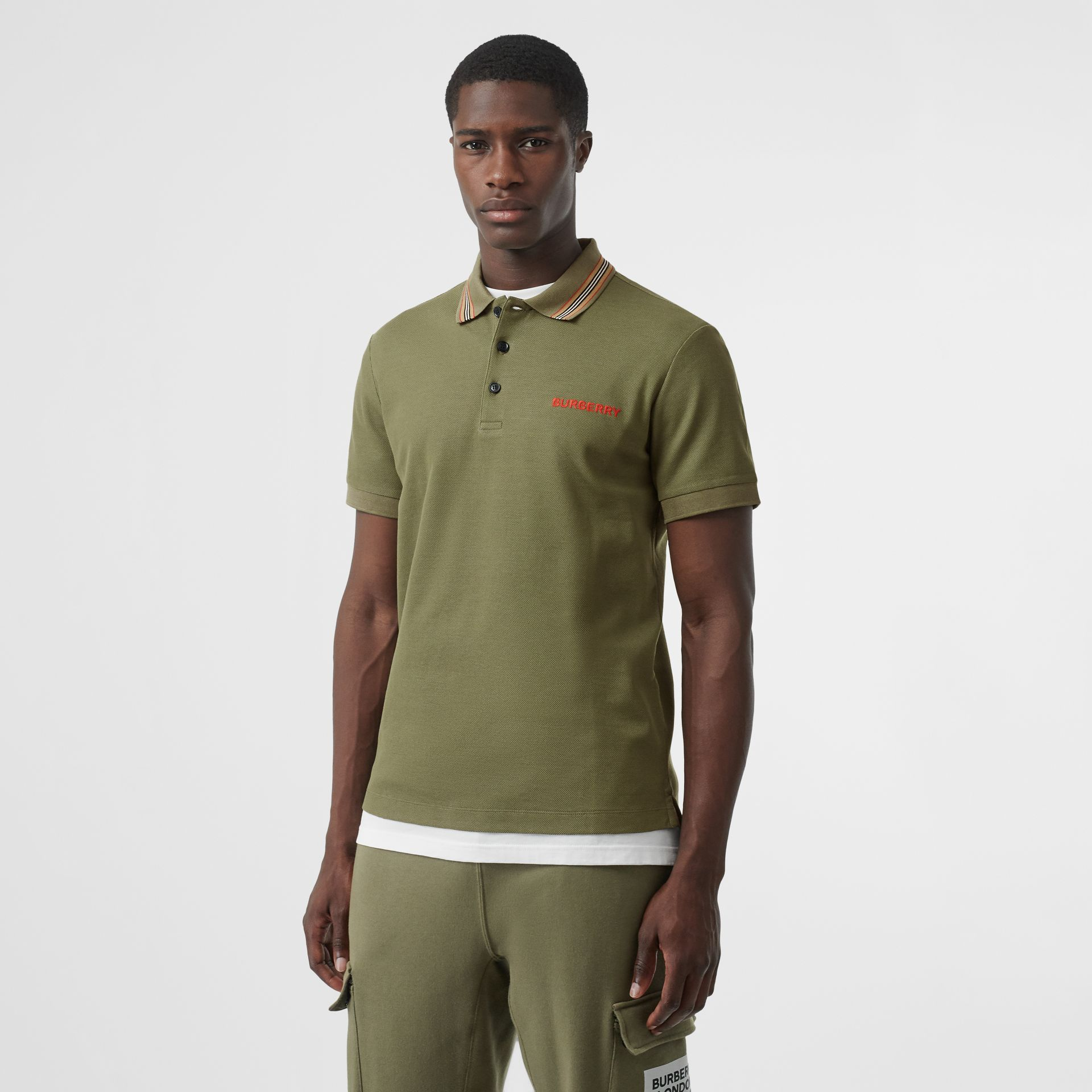 Icon Stripe Detail Cotton Piqué Polo Shirt in Poplar Green - Men | Burberry - gallery image 0
