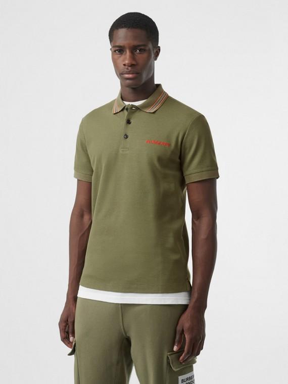 Polo en piqué de coton à rayures iconiques (Vert Peuplier)