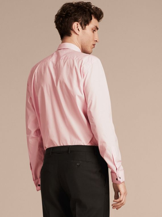 City pink Modern Fit Double-cuff Striped Cotton Poplin Shirt - cell image 2