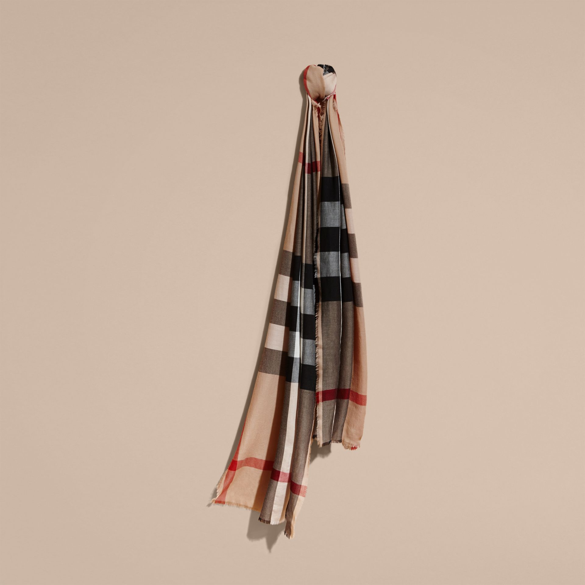 Camel check Extra-long Lightweight Cashmere Check Scarf - gallery image 6