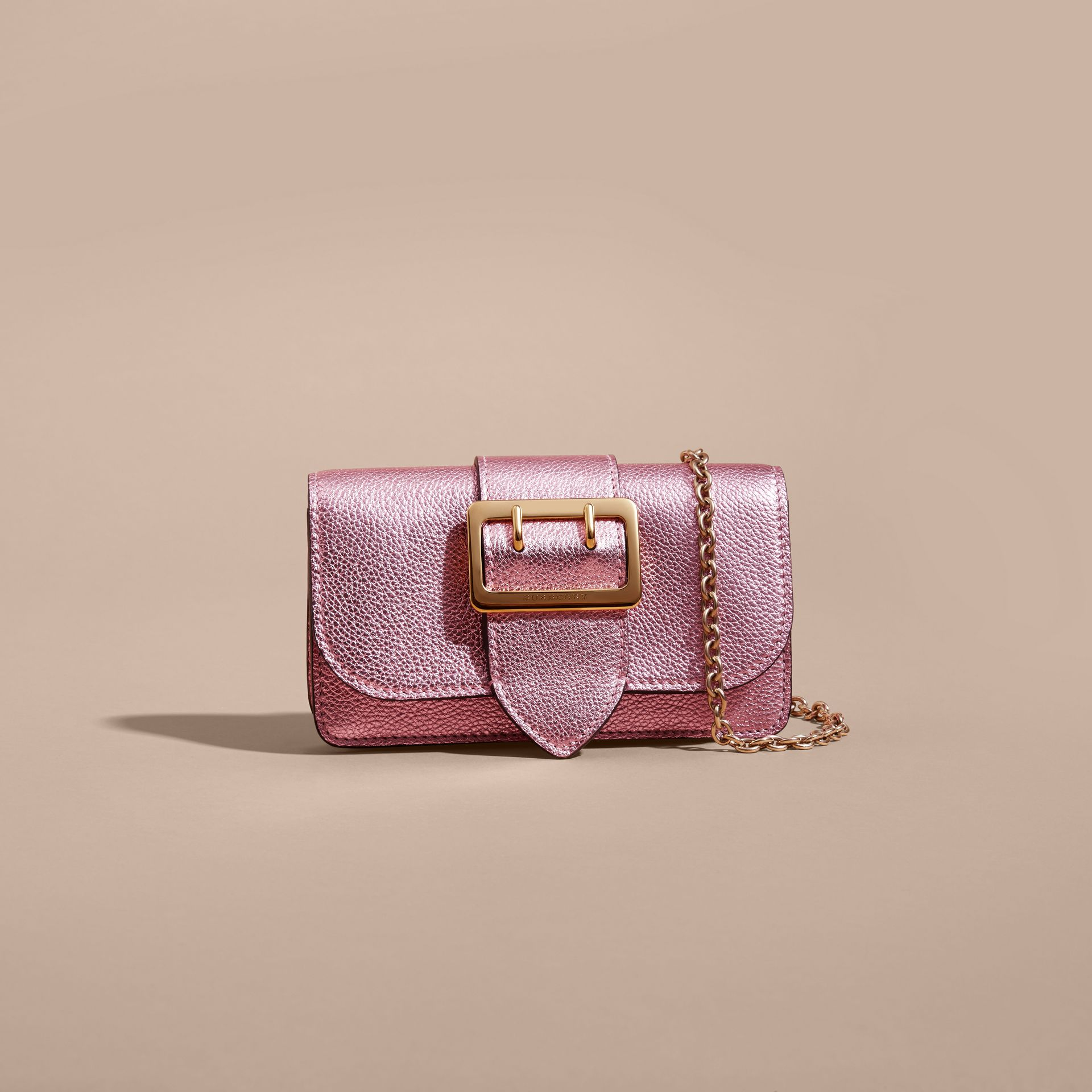 The Mini Buckle Bag in Metallic Grainy Leather in Pale Orchid - gallery image 9
