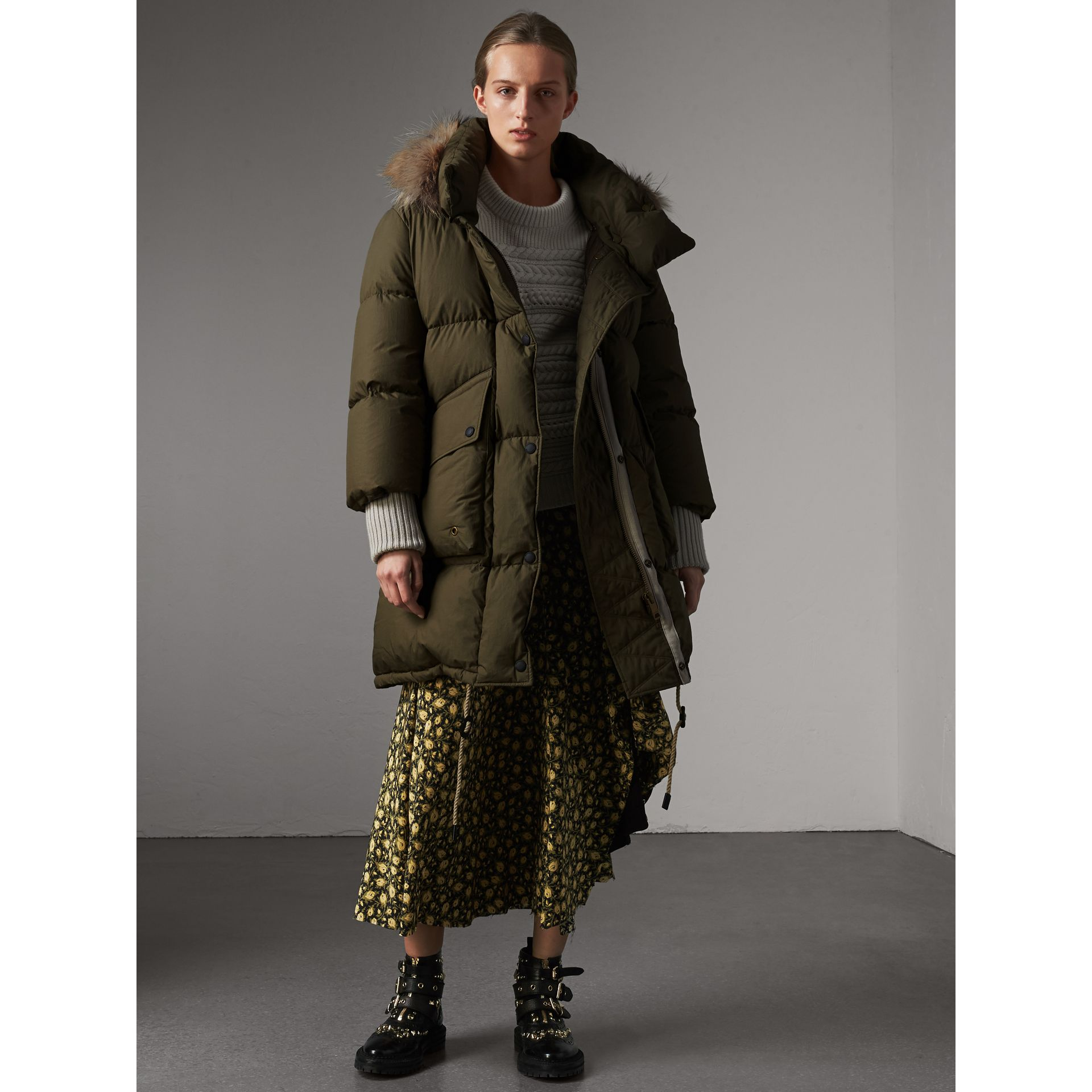 Detachable Fur Trim and Shearling Hood Puffer Coat in Olive Green - Women | Burberry - gallery image 1