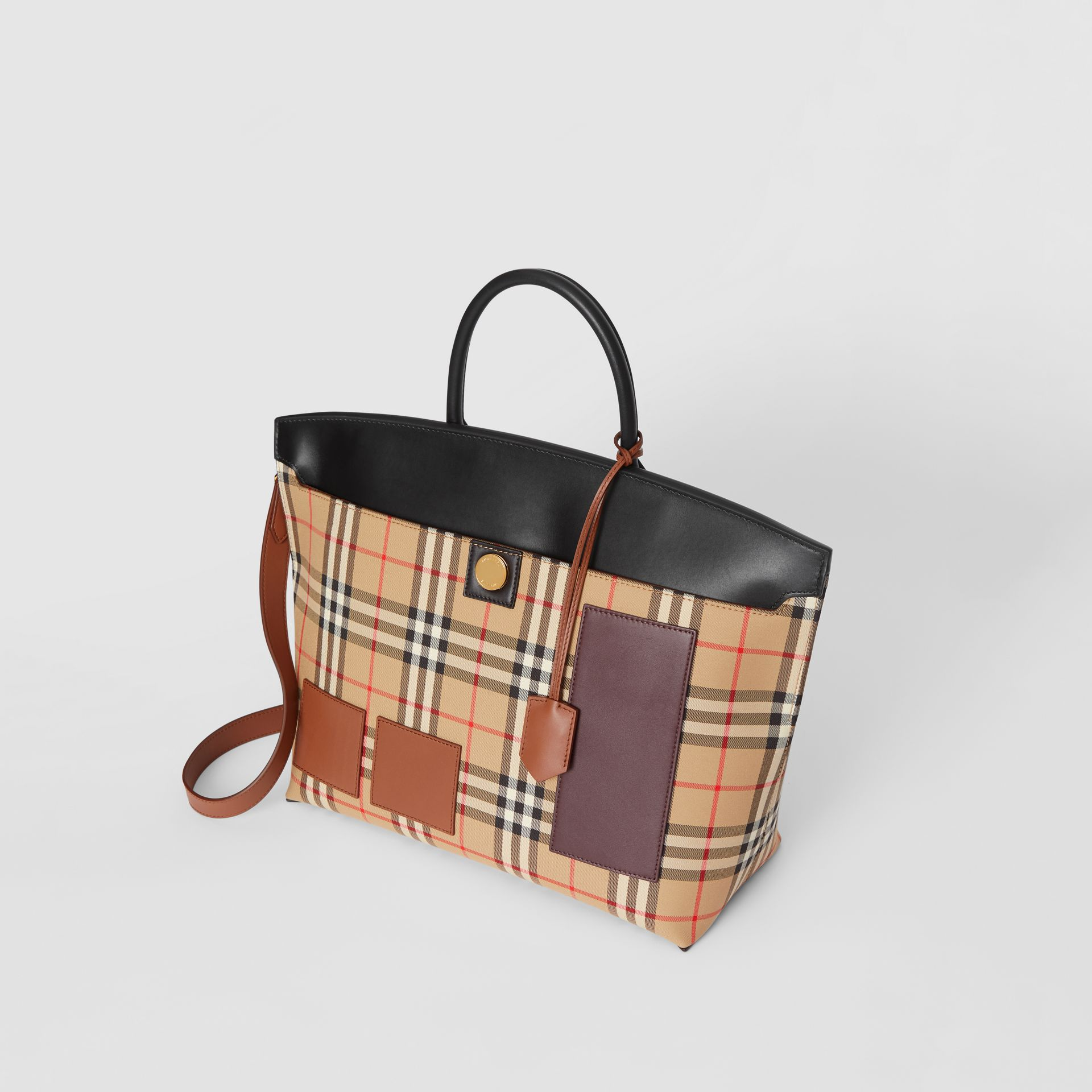 Vintage Check and Leather Society Top Handle Bag in Archive Beige - Women | Burberry United States - gallery image 3