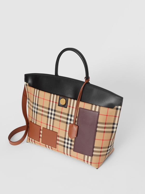 Vintage Check and Leather Society Top Handle Bag in Archive Beige - Women | Burberry United States - cell image 3
