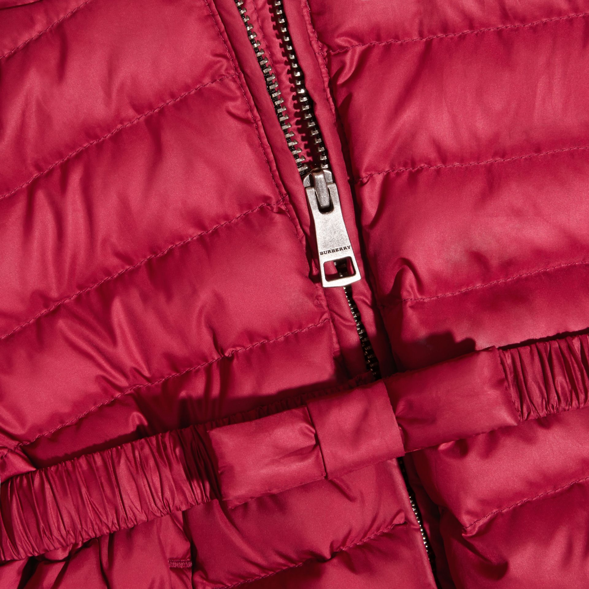 Dark plum pink Bow Detail Puffer Jacket - gallery image 2
