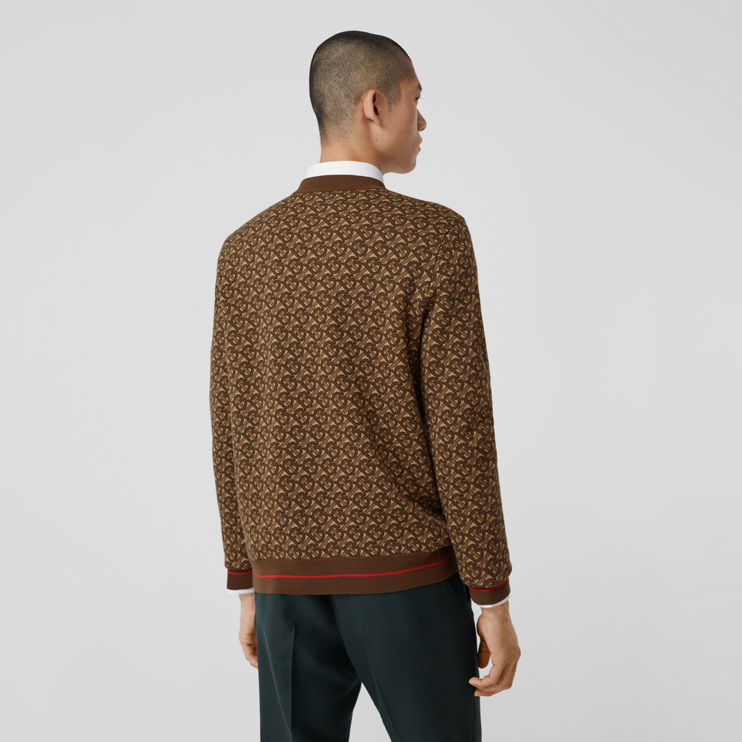 Monogram Merino Wool Jacquard Sweater in Bridle Brown - Men | Burberry Canada - 3