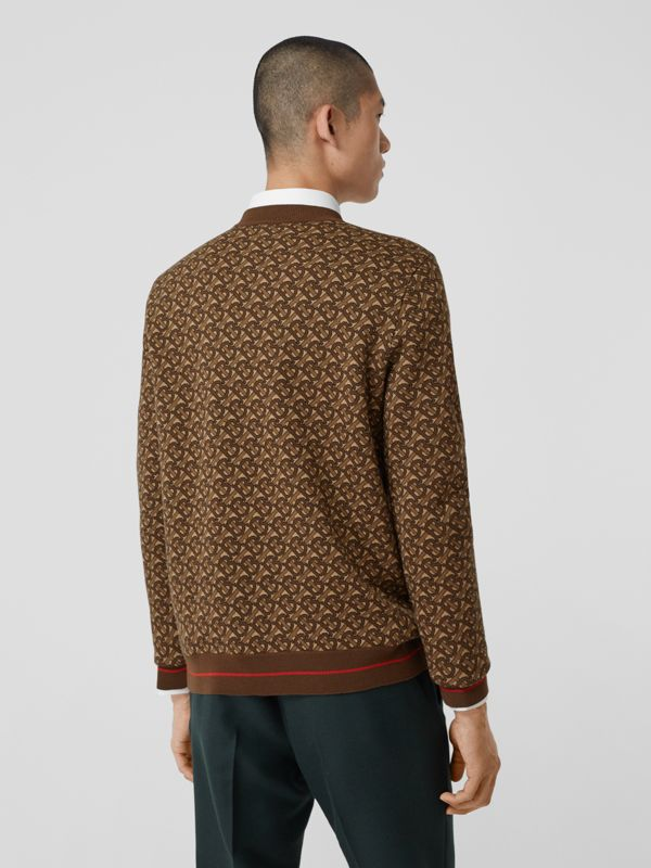 Monogram Merino Wool Jacquard Sweater in Bridle Brown - Men | Burberry United Kingdom - cell image 2
