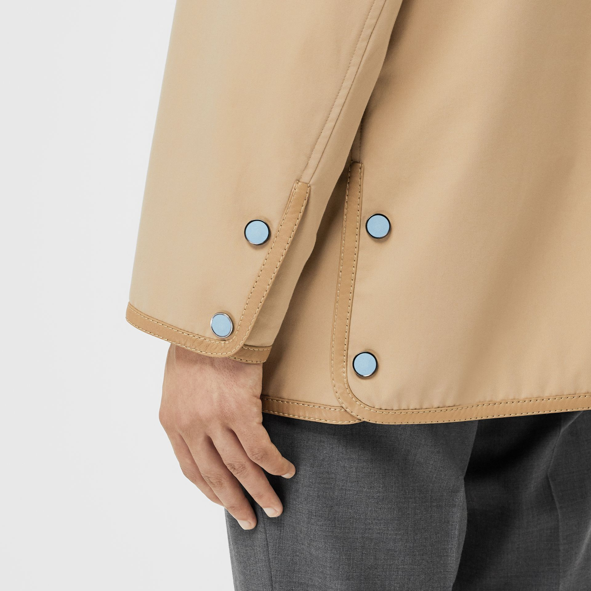 Monogram Leather Detail Cotton Gabardine Jacket in Honey | Burberry Singapore - gallery image 6