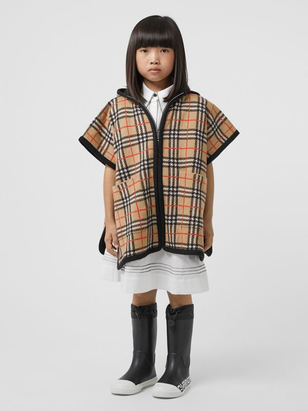 Check Merino Wool Jacquard Hooded Poncho in Archive Beige | Burberry - cell image 2