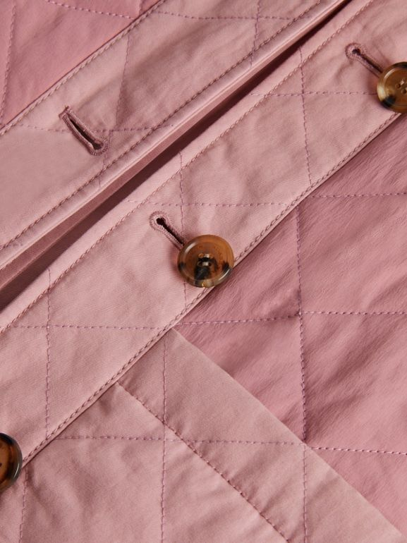 Reversible Tropical Gabardine Car Coat in Chalk Pink | Burberry - cell image 1